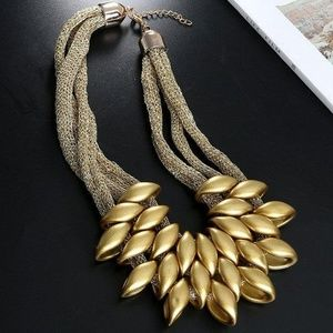 Bunches of Gold Statement Necklace
